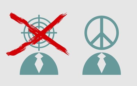 pacificist: Peace sign and target as human heads. Anti war relative illustration.