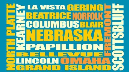 vista: Image relative to USA travel. Nebraska cities and places names cloud. Image relative to USA travel. Nebraska cities and places names cloud Illustration