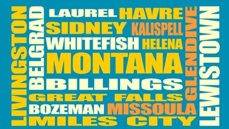 sidney: Image relative to USA travel. Montana cities and places names cloud. Image relative to USA travel. Montana cities and places names cloud