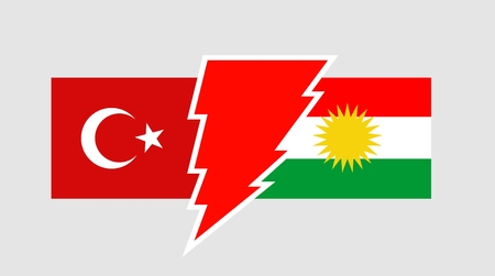 voltage sign: Image relative to politic relationships between Kurdistan and Turkey. National flags divided by high voltage sign Illustration