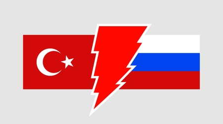 high voltage sign: Image relative to politic relationships between Russia and Turkey. National flags divided by high voltage sign