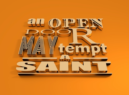 Quote text bubble. Metallic text. Design element similar to quote. Motivation quote. An open door may tempt the saint Stock Photo
