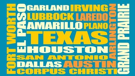 plano: Image relative to USA travel. Texas cities and places names cloud. Image relative to USA travel. Texas cities and places names cloud