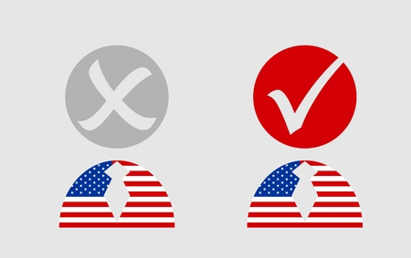 president of the usa: USA flag textured persons icon with vote mark. Image relative to parliament, president and others elections in United States of America Illustration