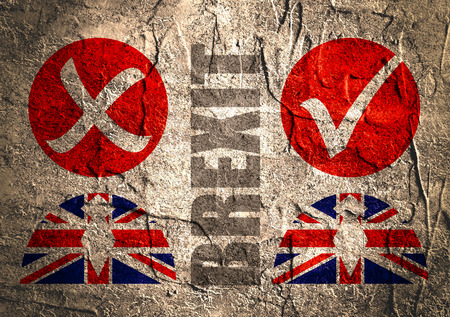 politics: Image relative to politic situation between great britain and european union. Politic process named as brexit. Concrete textured Stock Photo