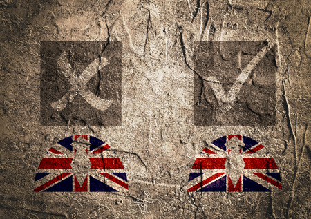 area of conflict: Image relative to politic situation between great britain and european union. Politic process named as brexit. Concrete textured Stock Photo
