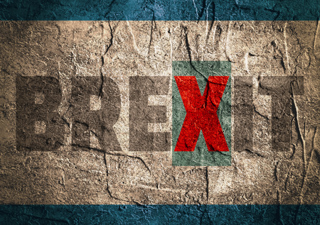 politic: Image relative to politic situation between great britain and european union. Politic process named as brexit. Concrete textured Stock Photo