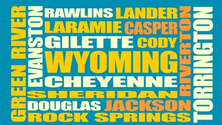 cody: Image relative to USA travel. Wyoming cities and places names cloud. Illustration
