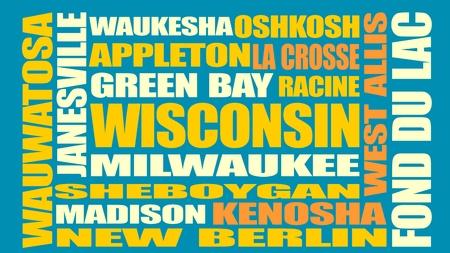 Image par rapport aux États-Unis Voyage. villes Wisconsin et noms de lieux nuage. Vecteurs