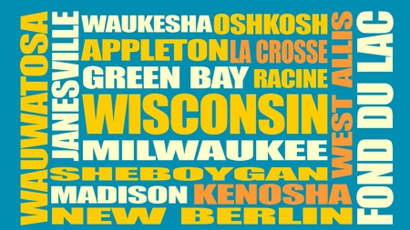 bay area: Image relative to USA travel. Wisconsin cities and places names cloud. Illustration