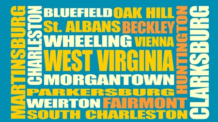 wheeling: Image relative to USA travel. West Virginia cities and places names cloud. Illustration