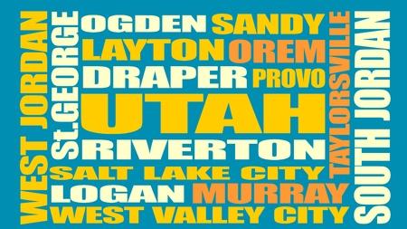 Image relative to USA travel. Utah cities and places names cloud. Illusztráció