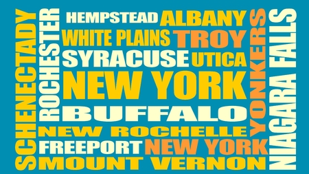 albany: Image relative to USA travel. New York cities and places names cloud.