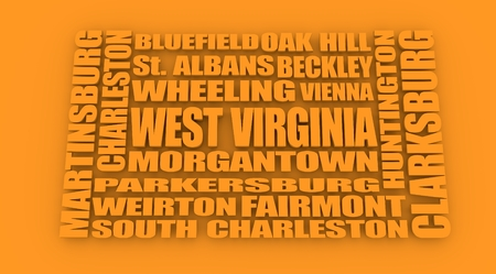 wheeling: Image relative to USA travel. West Virginia cities and places names cloud. Stock Photo