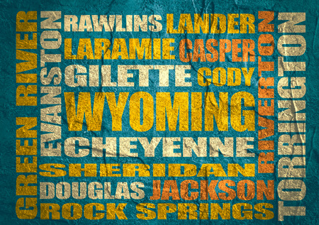 cody: Image relative to USA travel. Wyoming cities and places names cloud. Concrete textured Stock Photo