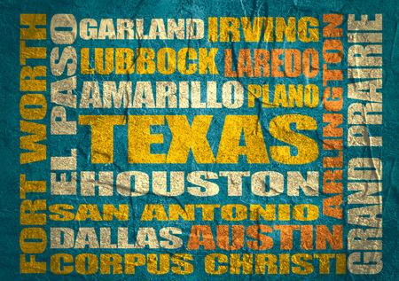 plano: Image relative to USA travel. Texas cities and places names cloud. Image relative to USA travel. Concrete textured