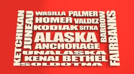 kodiak: Image relative to usa travel. Alaska state cities list Stock Photo