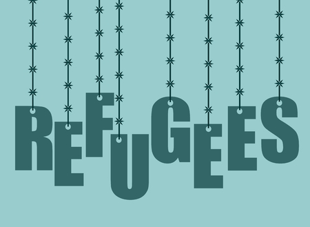 Image relative to migration from africa to european union. Refugees text hanging by barbed wire Illustration