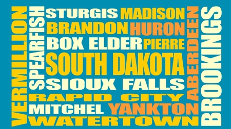 sioux: Image relative to USA travel. South Dakota cities and places names cloud.
