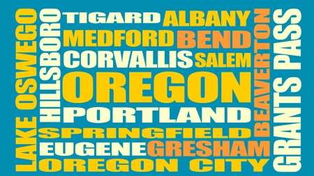 albany: Image relative to USA travel. Oregon cities and places names cloud. Illustration