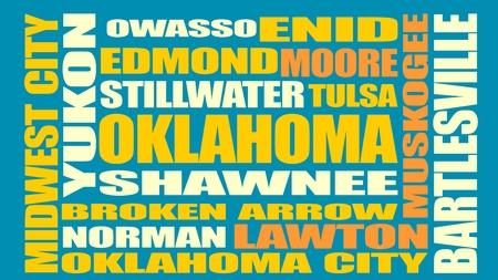 アメリカ旅行に対するイメージ。オクラホマ州の都市および場所名前の雲。