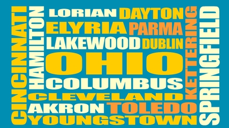 hamilton: Image relative to USA travel. Ohio cities and places names cloud. Illustration