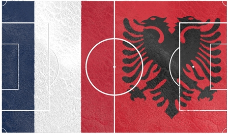 european countries: Flags of  European countries participating to the final tournament of Euro 2016 football championship. Football field textured by Albania and France national flags.