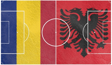 european countries: Flags of  European countries participating to the final tournament of Euro 2016 football championship. Football field textured by Romania and Albania national flags.