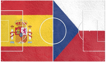 european countries: Flags of  European countries participating to the final tournament of Euro 2016 football championship. Football field textured by Spain and Czech national flags.