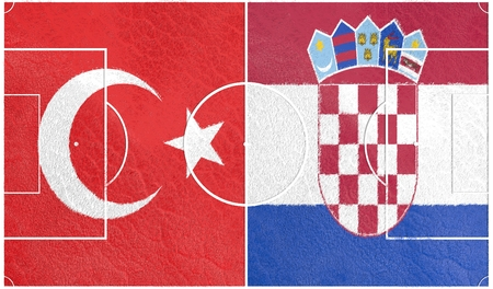 european countries: Flags of  European countries participating to the final tournament of Euro 2016 football championship. Football field textured by Turkey and Croatia national flags.