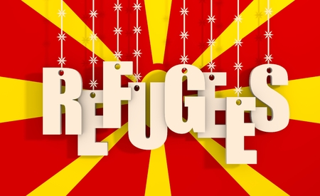 illegal immigrant: Image relative to migration from africa to european union. Refugees text hanging by barbed wire. Macedonia flag background