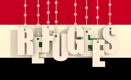 seekers: Image relative to migration from africa to european union. Refugees text hanging by barbed wire. Syria flag background