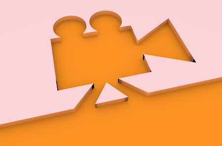 past production: Retro cinema cut out 3D icon. Keyhole design Stock Photo