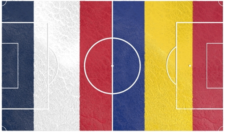 european countries: Flags of  European countries participating to the final tournament of Euro 2016 football championship. Football field textured by France and Romania national flags. Stock Photo