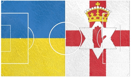 european countries: Flags of  European countries participating to the final tournament of Euro 2016 football championship. Football field textured by Ukraine and Northern Ireland national flags.
