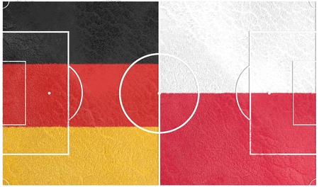 european countries: Flags of  European countries participating to the final tournament of Euro 2016 football championship. Football field textured by Germany and Poland national flags. Stock Photo