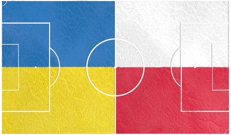 european countries: Flags of  European countries participating to the final tournament of Euro 2016 football championship. Football field textured by Ukraine and Poland national flags.