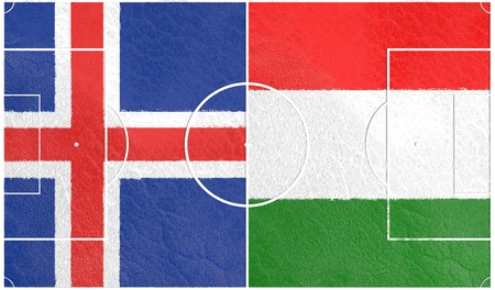 european countries: Flags of  European countries participating to the final tournament of Euro 2016 football championship. Football field textured by Iceland and Hungary national flags.