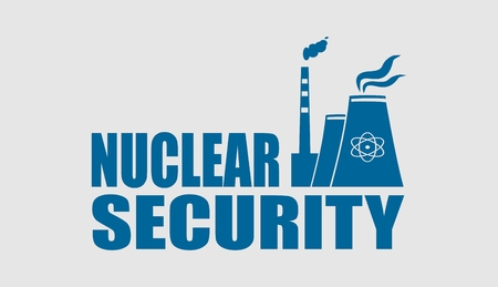 thermal power plant: Atomic power station icon. Nuclear security text.