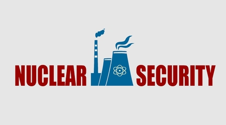 atomic: Atomic power station icon. Nuclear security text.