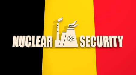 thermal power plant: Atomic power station icon. Nuclear security text. Belgium flag backdrop