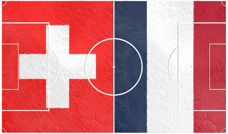 Flags of  European countries participating to the final tournament of Euro 2016 football championship. Football field textured by Swizerland and France national flags.