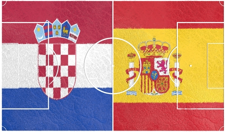 european countries: Flags of  European countries participating to the final tournament of Euro 2016 football championship. Football field textured by Croatia and Spain national flags.
