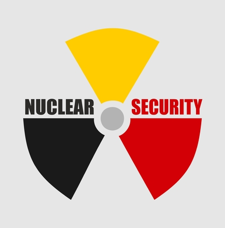 thermal pollution: Atom energy danger icon. Nuclear security text. Belgium flag colors