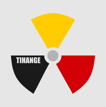 thermal power plant: Atom energy danger icon. Tihange text. Belgium flag colors Illustration
