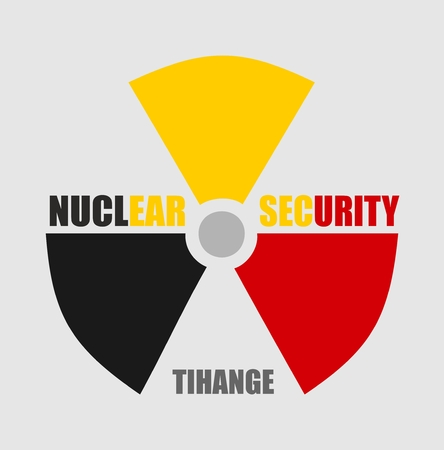 thermal pollution: Atom energy danger icon. Nuclear security and Tihange text. Belgium flag colors