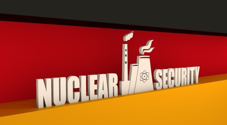 uranium: Atomic power station icon. Nuclear security text. Germany flag backdrop