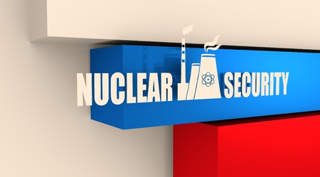 atomic: Atomic power station icon. Nuclear security text. Russia flag backdrop