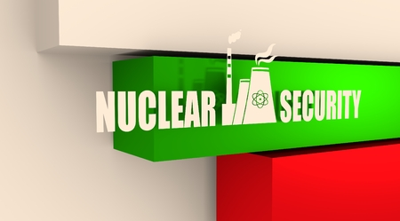 thermal power plant: Atomic power station icon. Nuclear security text. Bulgaria flag backdrop
