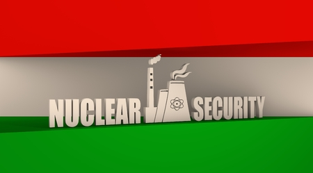 thermal pollution: Atomic power station icon. Nuclear security text. Hungary  flag backdrop